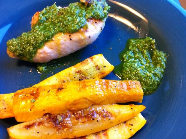 chicken and squash pesto